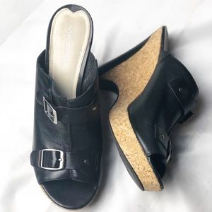 Via Spiga Black Leather Platform Mule Sandals 9.5